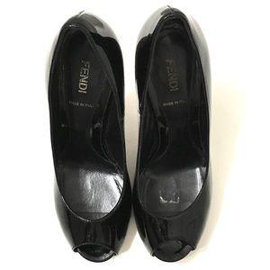 Fendi Woman's Black Patent Leather Zucca Pumps